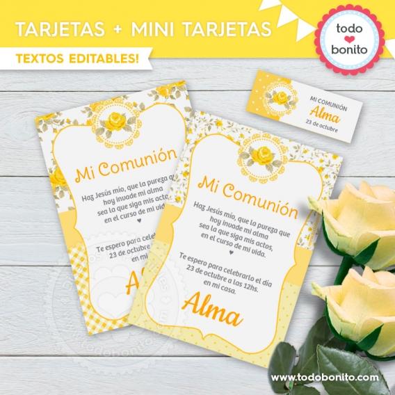 Tarjetas y mini tarjetas de kit decoración shabby chic amarillo
