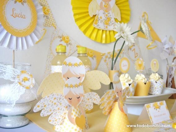 kit decoracion shabby chic amarillo para primera comunión
