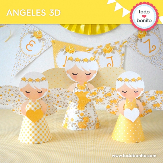 Ángeles 3D de kit decoración shabby chic amarillo