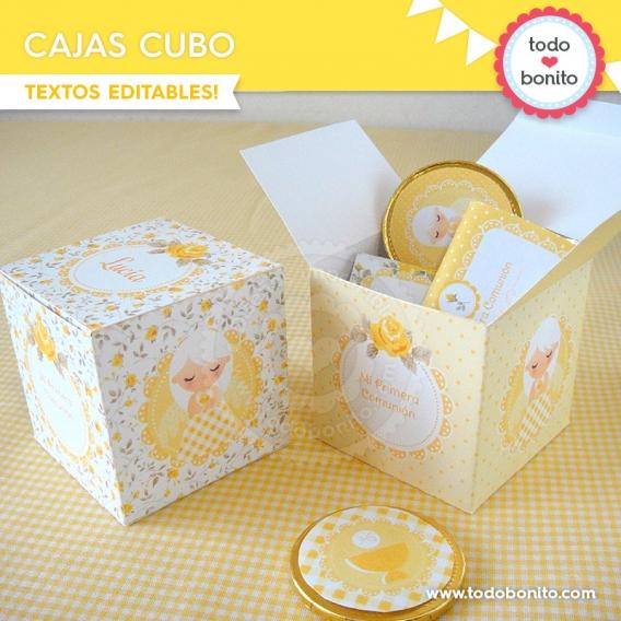 Cajas cubo de kit decoración shabby chic amarillo