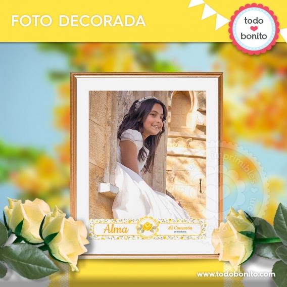 Foto decorada con kit decoración shabby chic amarillo