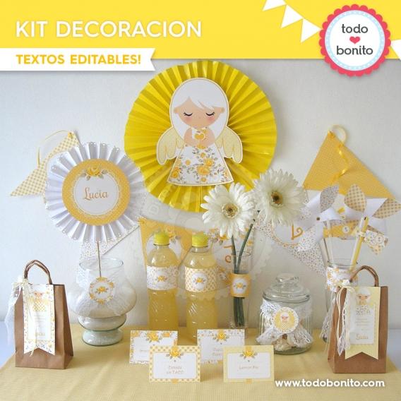 kit decoracion shabby chic amarillo