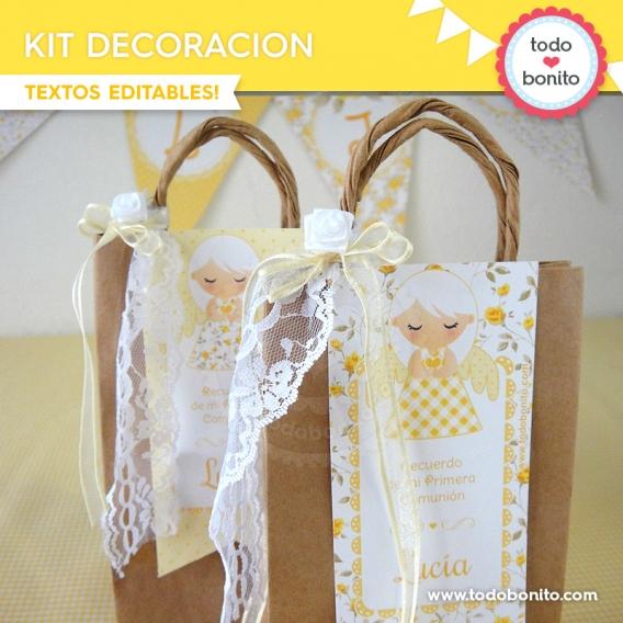 Bolsas sorpresitas de kit decoración shabby chic amarillo