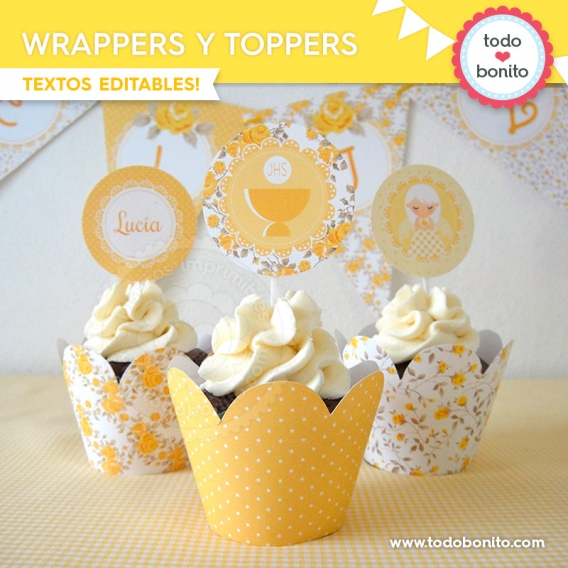 Wrappers y toppers de Kit shabby chic amarillo