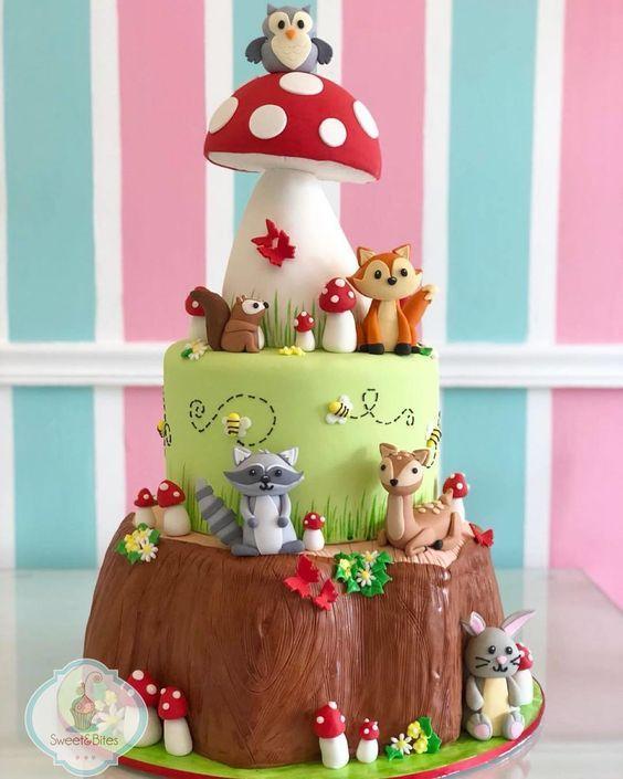 Preciosa torta de Animalitos del Bosque
