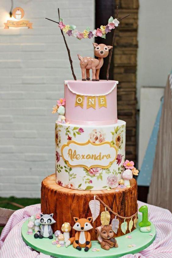 Torta para nenas de Animalitos del Bosque