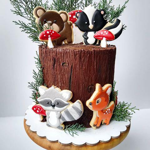 Torta animalitos del bosque con galletas