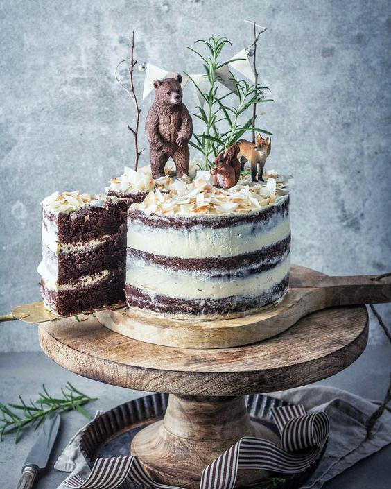 Torta animalitos del bosque nude cake