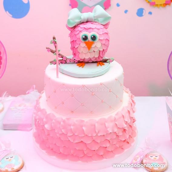Torta con Buhita en rosa