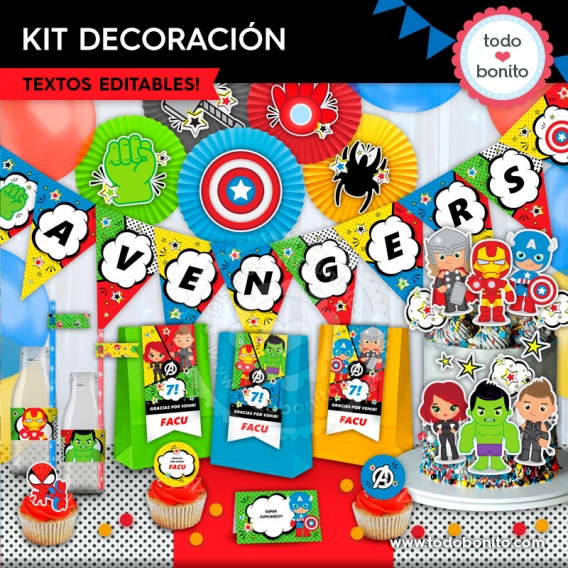 Kit imprimible decoración Avengers por Todo Bonito