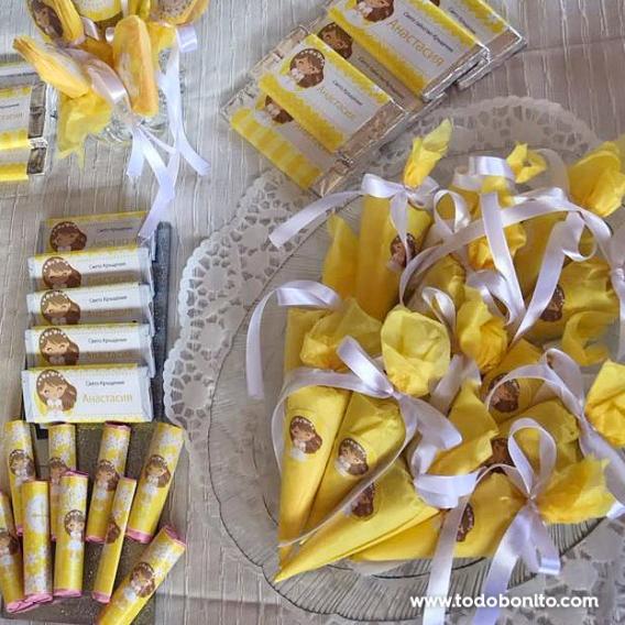 Kit imprimible religioso margaritas en amarillo