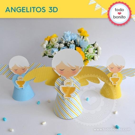 Angel 3D con Cáliz amarillo para Comunión