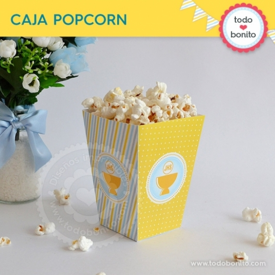 Caja popcorn con Cáliz amarillo para Comunión