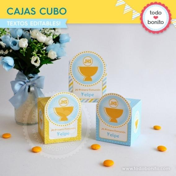 Caja cubo con Cáliz amarillo para Comunión