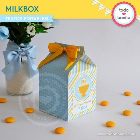 Milkbox con Cáliz amarillo para Comunión