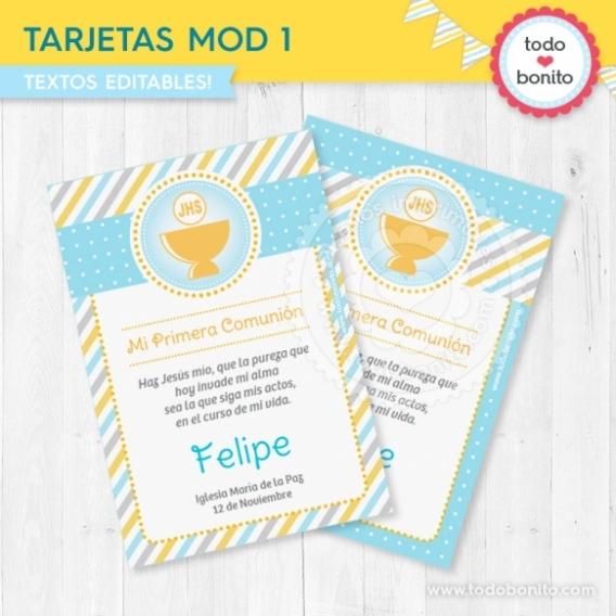 Tarjetas imprimibles con Cáliz amarillo para Comunión