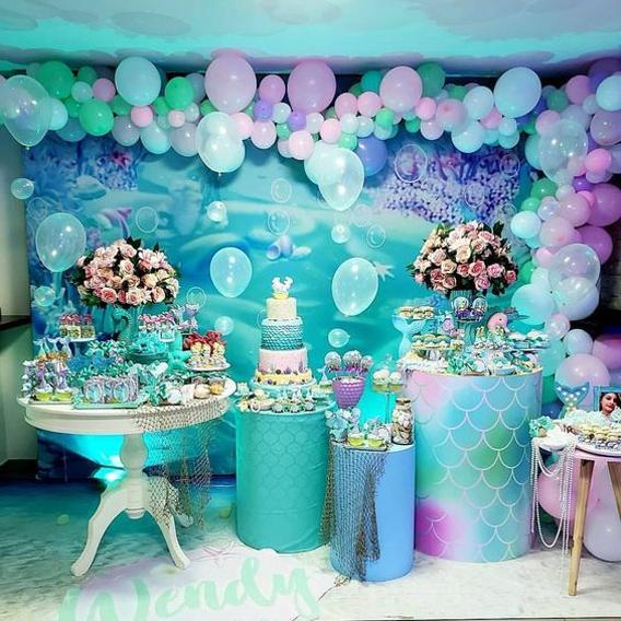 Decoración de sirena para fiesta de cumpleaños