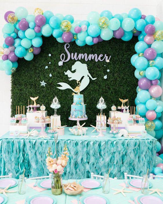 decoración con temática de sirena para nenas