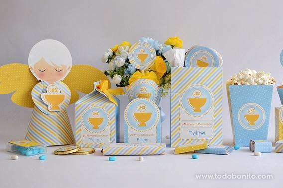 Kits imprimibles Cáliz amarillo para Comunión