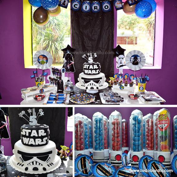 Cumpleaños decorado con imprimibles de Star Wars
