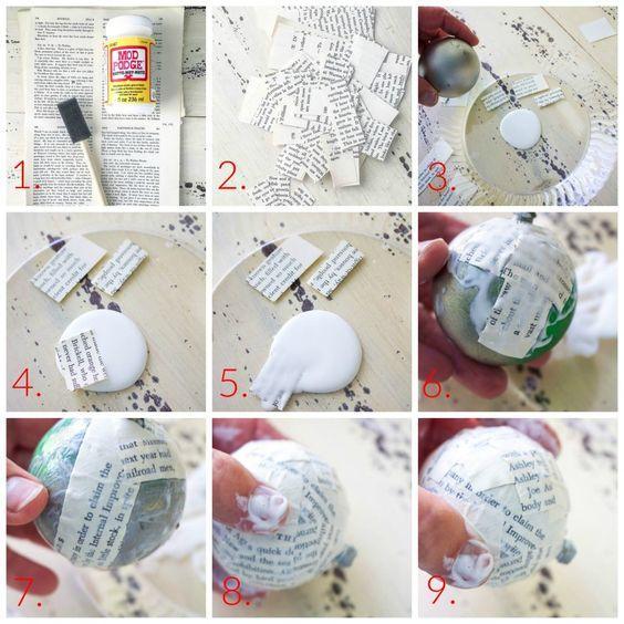 Bolas de Navidad decoradas con técnica decoupage