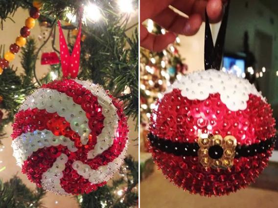 Bolas de Navidad decoradas con lentejuelas