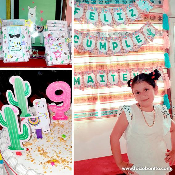 Cumpleaños decorado con los kits imprimibles de Llamitas de Todo Bonito