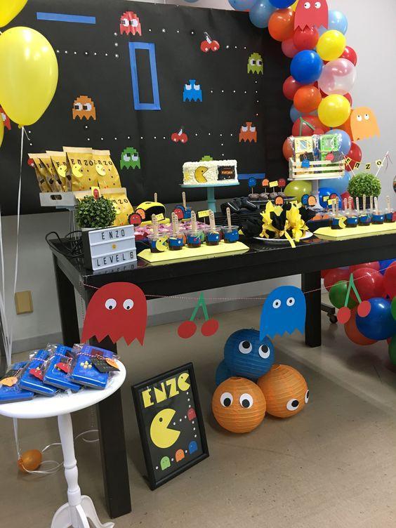 Mesa dulce de cumpleaños de Pac-man