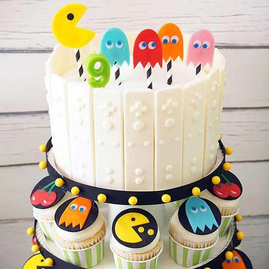 Torta y cupcake de pac-man