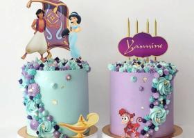 Hermosas tortas de Aladdín y la princesa Jasmín