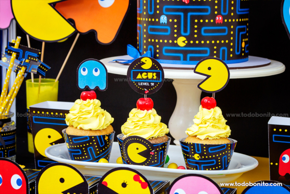 Cupcakes del Kits imprimible de Pacman
