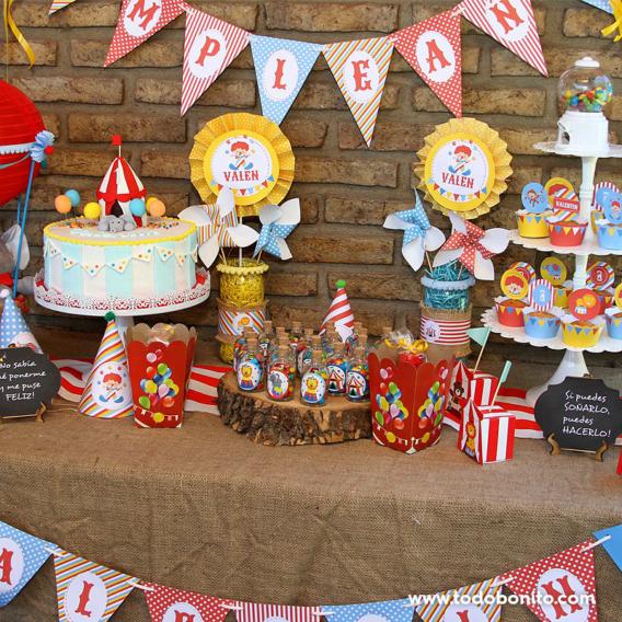 Mesa dulce de circo primer añito