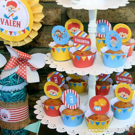 Cupcakes fiesta de circo primer añito