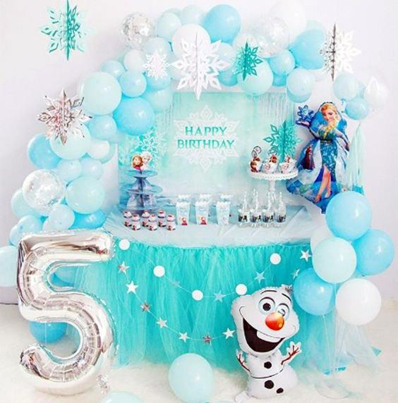Ideas decoración fiesta con globos de Frozen