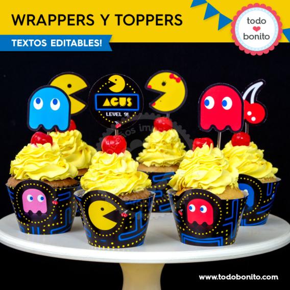 Wrappers y toppers de Pacman para imprimir