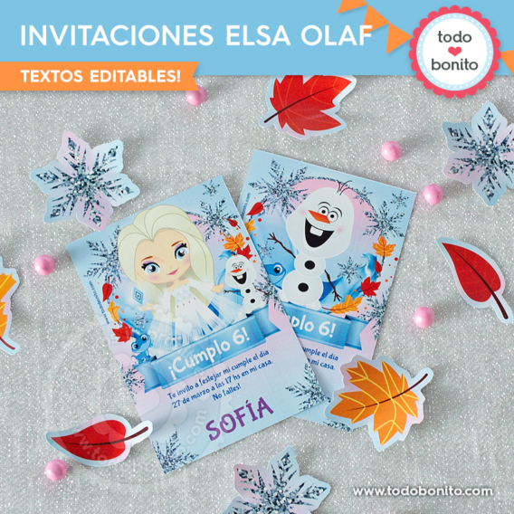 Invitaciones Frozen 2 Elsa y Olaf