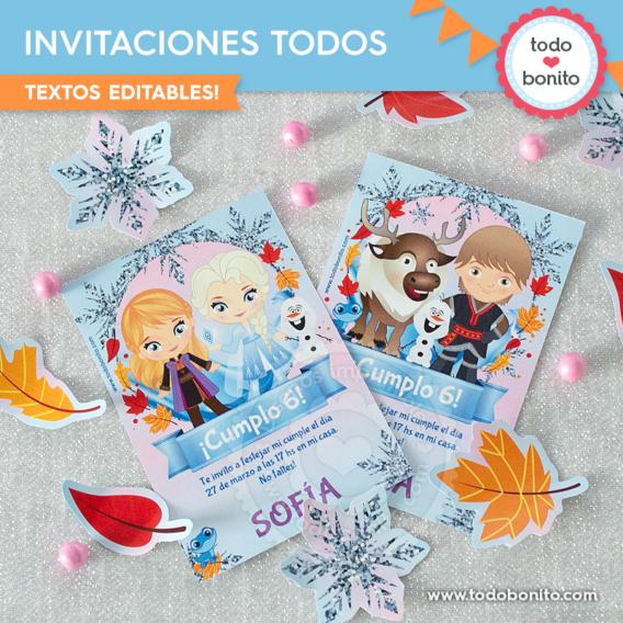 Invitaciones Frozen 2 todos los personajes