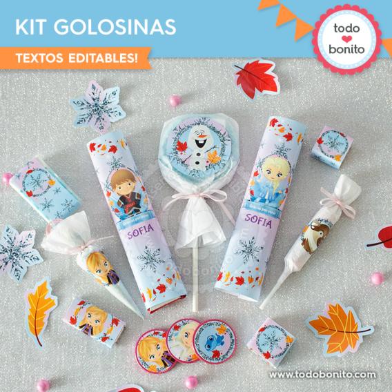Kit imprimible etiquetas de golosinas Frozen 2