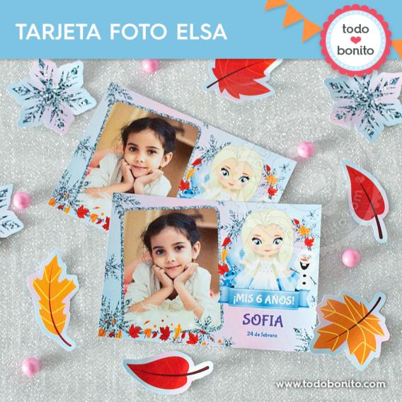 Tarjetas con foto Frozen 2 Elsa pelo suelto