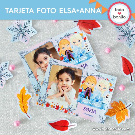 Tarjetas con foto Frozen 2 Elsa y Anna