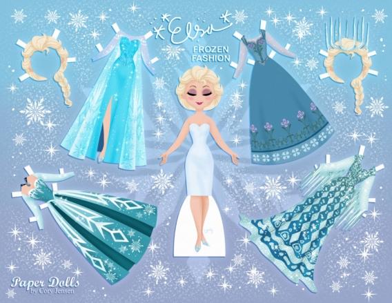 Elsa: Muñeca de papel para imprimir y vestir gratis