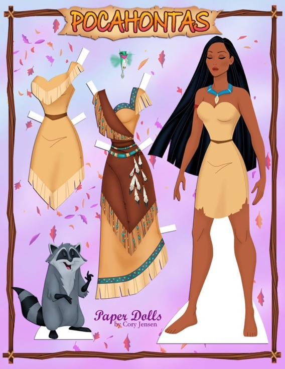 Pocahontas: Muñeca de papel para imprimir y vestir gratis