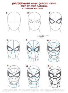 Pasos para dibujar la máscara de Spiderman