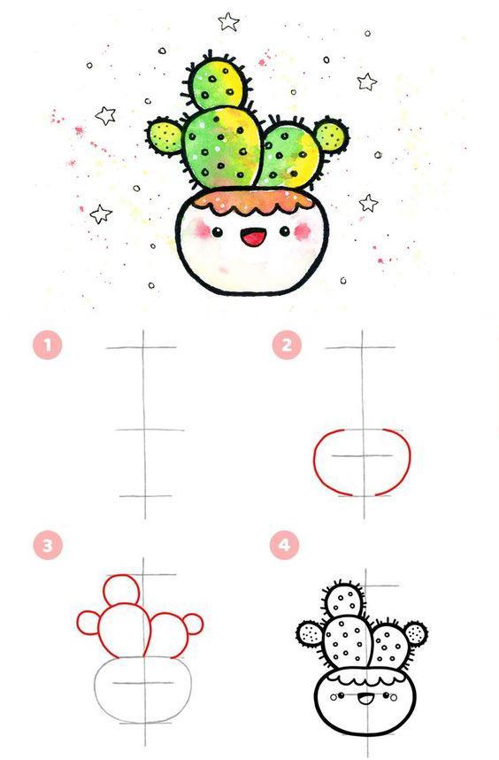 Pasos para dibujar un Cactus Kawaii