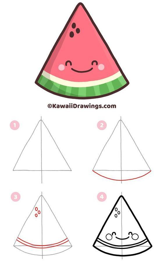 Simples pasos para dibujar una Sandía Kawaii
