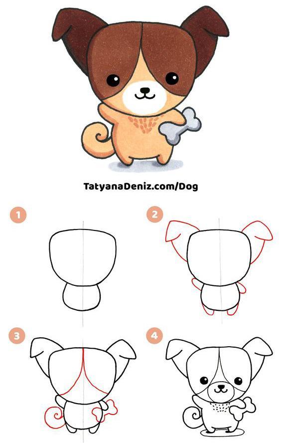 Paso a paso para dibujar un perrito Kawaii