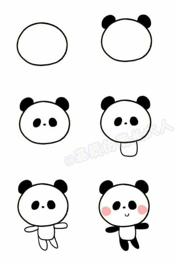 Paso a paso para dibujar un osito panda Kawaii