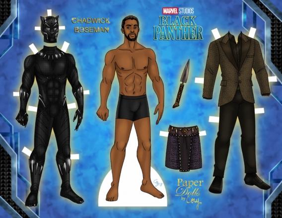 Pantera negra: Muñeco de papel para imprimir y vestir gratis