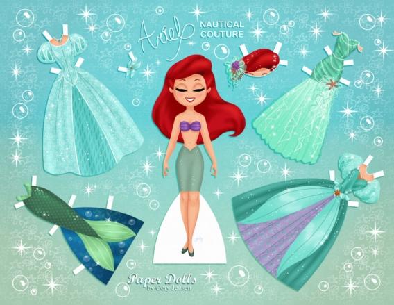 Ariel: Muñeca de papel para imprimir y vestir gratis