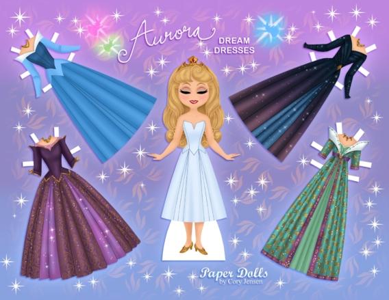 Aurora: Muñeca de papel para imprimir y vestir gratis